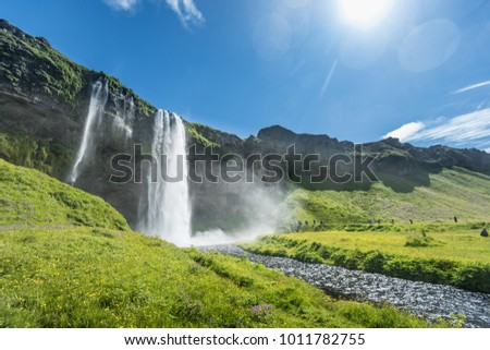 Beautiful Seljalandsfoss waterfall in Iceland