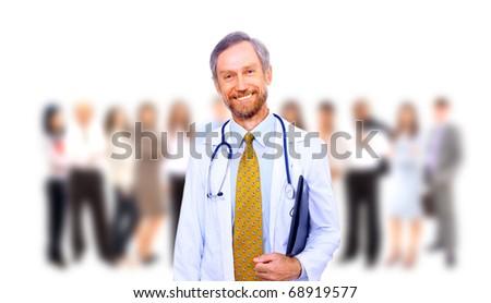 Beautiful senior doctor with stethoscope - stock photo