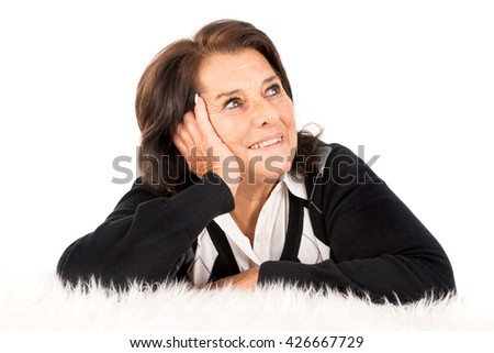 Beautiful senior woman isolated in a white background - stock photo