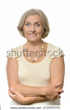 Beautiful Senior woman on a white background - stock photo
