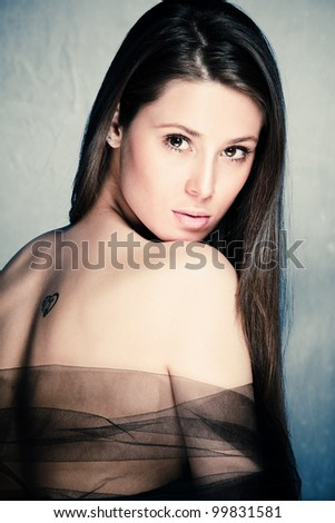 beautiful sensual brunette young woman portrait studio shot - stock photo