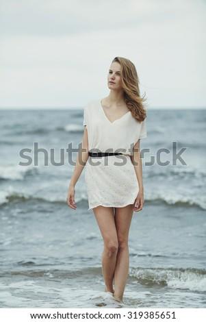 beautiful sensual girl in cold water portrait - stock photo