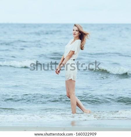 beautiful sensual girl in water portrait - stock photo