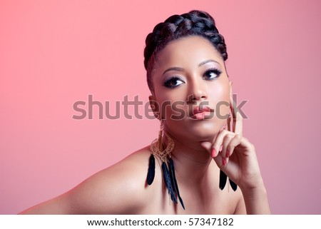 Beautiful sensual girl, portrait on pink background - stock photo