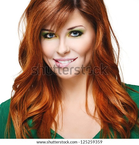 Beautiful sensual girl with red hair on a white background - stock photo