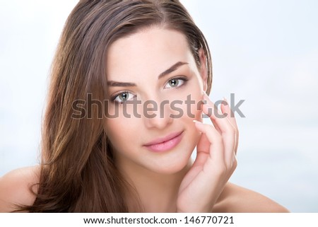 Beautiful sensual woman face - stock photo