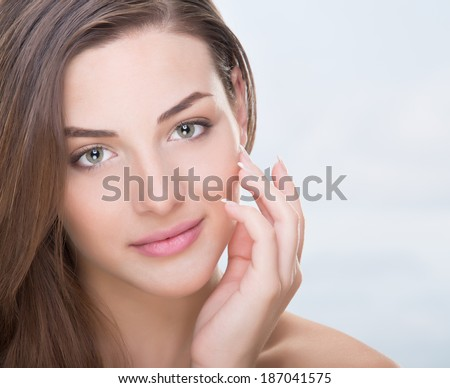 Beautiful, sensual woman face - stock photo