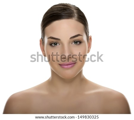 Beautiful, sensual woman with gently smile - stock photo