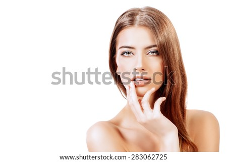 Beautiful sensual young woman with pure fresh skin. Youth and beauty. Skincare, bodycare. Spa. Isolated over white. - stock photo