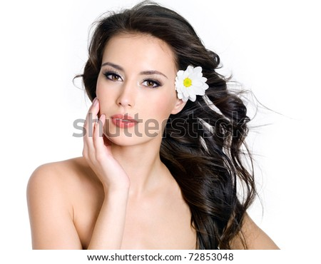Beautiful sensuality  woman with fresh skin of face  - white background