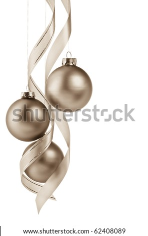 Beautiful Sepia Christmas Ornament Border. - stock photo