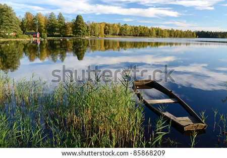 Beautiful September's landscape - stock photo