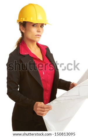 beautiful serious female architect with business plans isolated on white. - stock photo