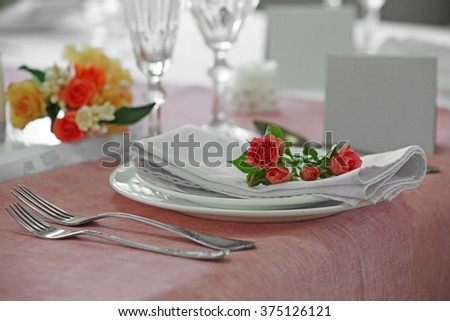 Beautiful served table for wedding or other celebration in restaurant