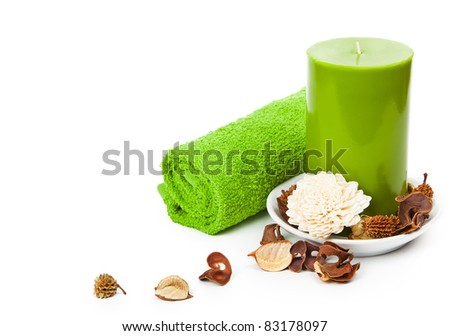 beautiful set for spa and aromatherapy on a white background - stock photo
