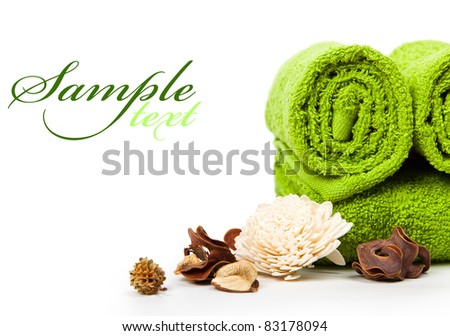 beautiful set for spa and aromatherapy with space for text - stock photo
