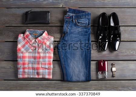 Beautiful set of casual clothes stylish man. - stock photo