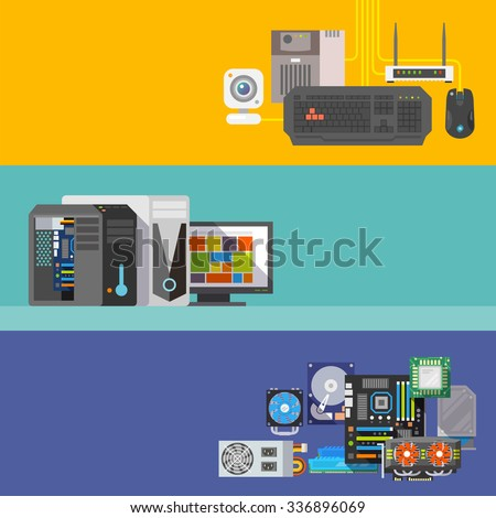 Beautiful set of colorful flat  banners on the theme: assembling a desktop computer, computer store, choice of PC components. All items are created with love especially for your amazing projects - stock photo