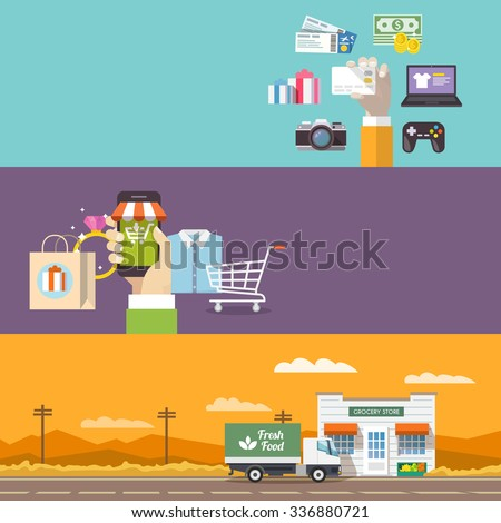 Beautiful set of colorful flat banners on the theme: online shopping, payment, delivery of the goods . All items are created with love especially for your amazing projects. - stock photo