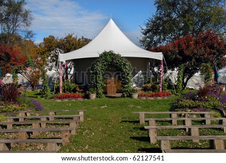Beautiful setting for a rustic wedding - stock photo