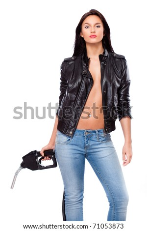 beautiful sexual  woman portrait with nozzle - stock photo