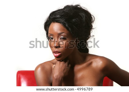 Beautiful sexy African American woman - stock photo