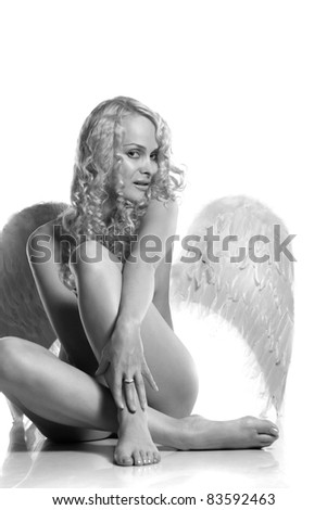 beautiful sexy angel with wings on a white background