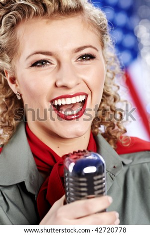 Beautiful sexy army woman singing