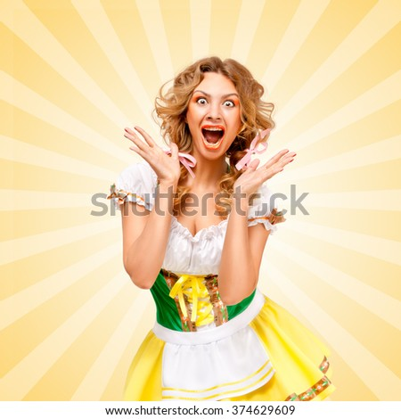 Beautiful sexy astonished Oktoberfest woman wearing a traditional Bavarian dress dirndl, showing happy facial emotions on colorful abstract cartoon style background. - stock photo