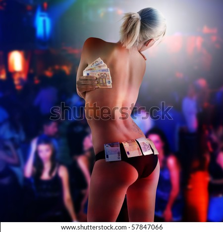 beautiful sexy blond girl wearing black panties and keeping some euro money as a strip girl - stock photo
