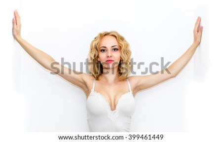 Beautiful sexy blond woman with curly hair