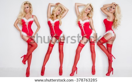Beautiful sexy blonde female model snowflake dressed as Santa Claus erotic red lingerie with white fur and amazing stockings and high heels lovely makeup sensual lips, beauty perfect body