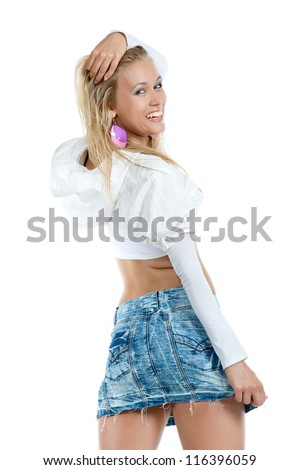 Beautiful sexy blonde girl posing on a white background, isolated