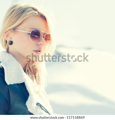 beautiful sexy blonde in glasses - stock photo