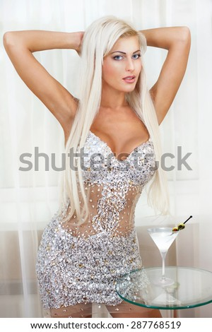 Beautiful sexy blonde in stylish lingerie - stock photo