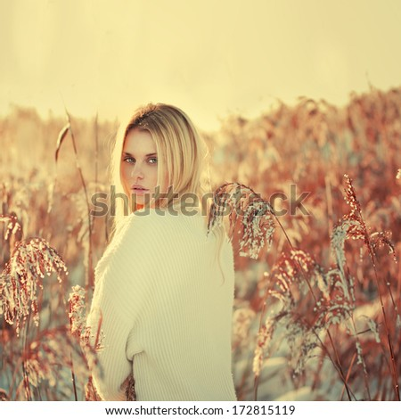 beautiful sexy blonde in the countryside - stock photo