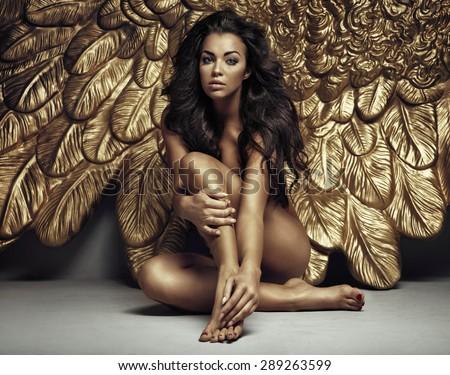 Beautiful sexy brunette beauty - stock photo