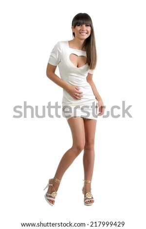 Beautiful sexy brunette girl posing on a white background - stock photo