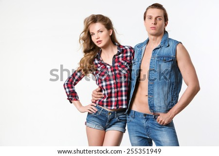Beautiful sexy couple in love on white background.  - stock photo