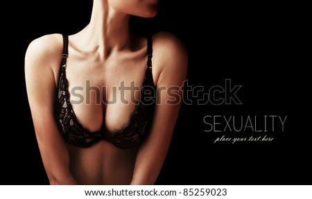 Beautiful sexy female body, healthy breast, beauty and health care concept - stock photo