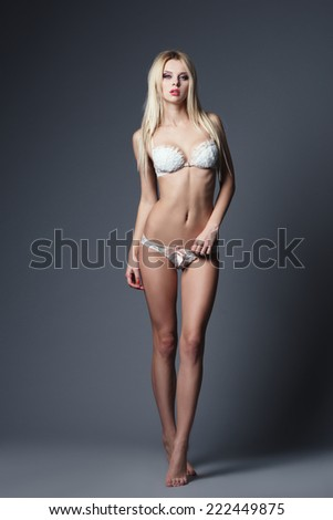 beautiful sexy girl studio shot - stock photo