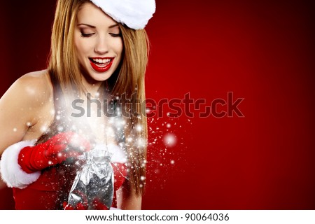 beautiful sexy girl wearing santa claus clothes - stock photo