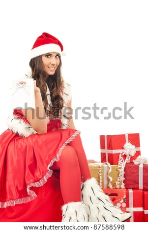beautiful sexy girl wiring santa claus clothes, isolated on white background - stock photo