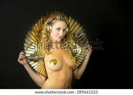 beautiful sexy gold disco woman. Perfect for stylish club, disco and fashion events