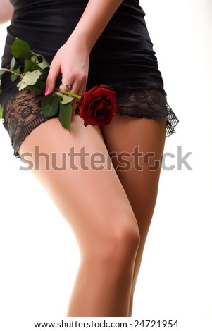 beautiful sexy legs of female holding a red rose on white - stock photo