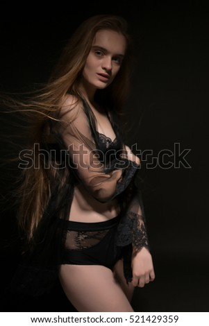 Beautiful sexy long-haired woman