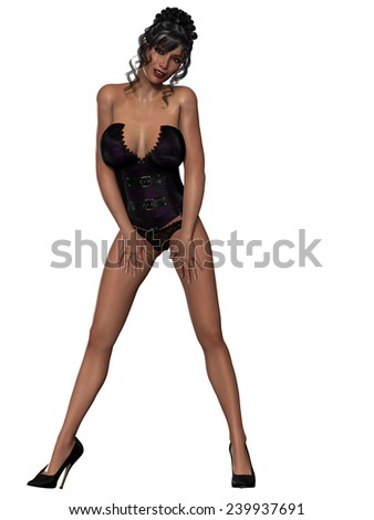 Beautiful sexy pin-up girl in sexy corset - stock photo