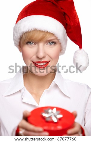 Beautiful sexy santa clause blond woman with a gift, isolated on white background - stock photo