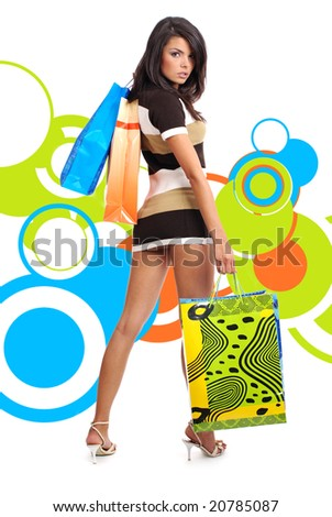 beautiful sexy shopping girl holding bag over abstract round modern design background - stock photo