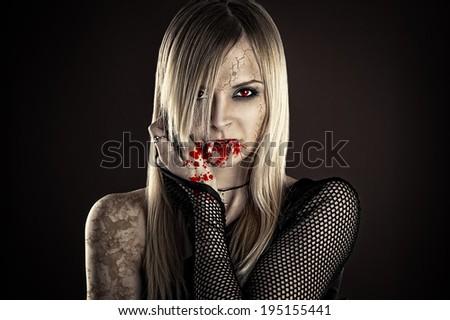 beautiful sexy vampire woman - stock photo